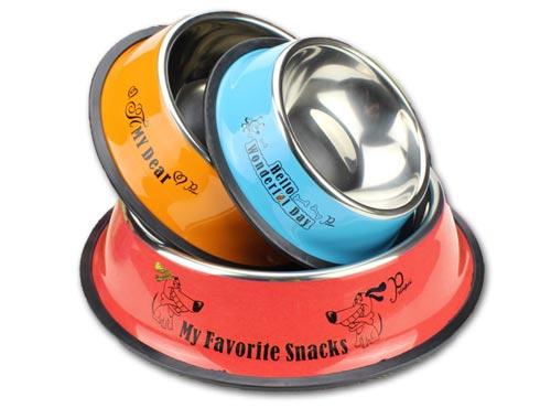 цветная металлическая миска с надписями для собак и кошек